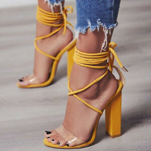 01c7ea20e8cf04 Women Sandals High Block Heels Open Toe Strappy Sandals Tie Up PVC ...