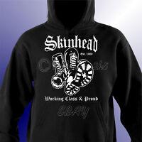 Skinhead Working Class & Proud Mens Unisex Hoodie Hooded Sweat Shirt Scooter Ska