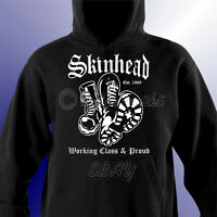 Skinhead Working Class & Proud Mens Unisex Hoodie Hooded Sweat Shirt Scooter Ska