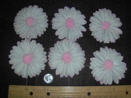 6 vintage pastel pink//white fabric daisies w//stem