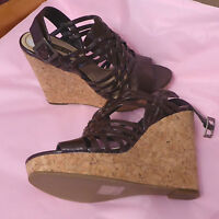 Nine West Uk8w Eu40w Brown High Cork Wedge Strappy Sandals