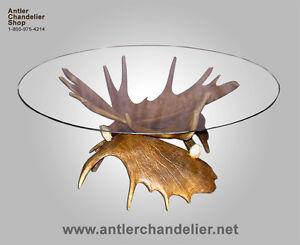 Attirant Image Is Loading REAL ANTLER MOOSE COFFEE TABLE DEER RUSTIC LIGHTING