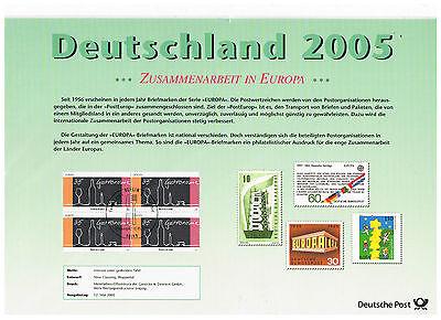 Sonderblatt Deutsche Post 2005 Zusammenarbeit In Europa U. Dokumente Der