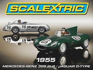 Scalextric C3058a, État inutilisé, 1955 Mercedes / Jaguar