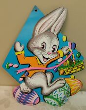 Vintage EASTER BUNNY & Colored Eggs Die Cut Out Decoration BEISTLE USA