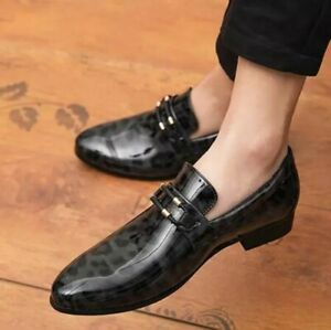 leopard clubwear mens pointy toe slip on shoes casual