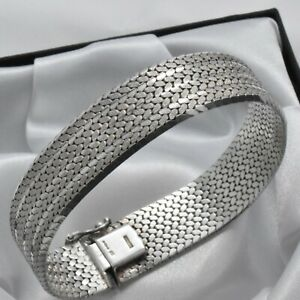 Solid-925-Sterling-Silver-1977-Vintage-Semi-Matte-Textured-Strap-Style-Bracelet