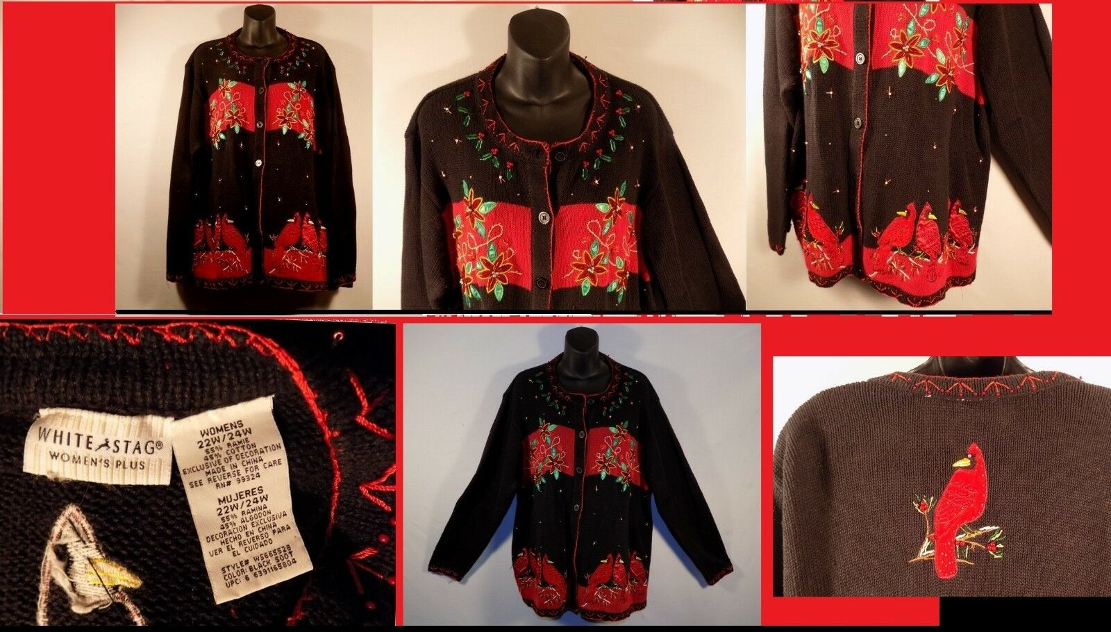 Christmas Red Cardinals 22w 24w Sweater Beaded Sequins Sequins Sequins Embellished Womens Plus 912409