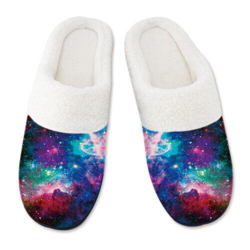 Novelty Mens Indoor Slippers 3D Print Winter Fleece Cosy Anti-slip House Shoes