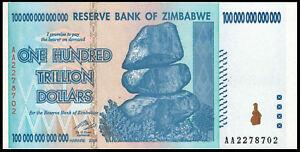 Image Is Loading Zimbabwe 100 Trillion Dollars 2008 Aa P 91