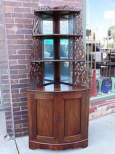 Antique Victorian Rosewood Corner Cupboard Cabinet Shelf