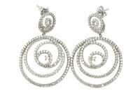Cz Earrings Sterling Silver Round Spirals Post Studs Cubic Zirconia Large Long