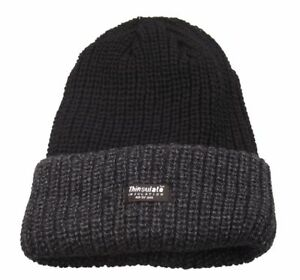 Image is loading Mens-Grey-Black-Beanie-Hat-Chunky-Knit-Fleece- 85dc6d226689
