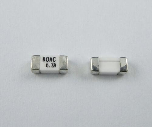 5Pcs KOA KOAC SMD SMT 1808 6.3A 125V Surface Mount Main Board Fuses CCF1N6.3TTE