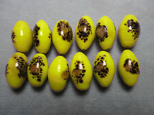 12 OVAL YELLOW MILLEFIORI CONFETTI GLASS BEADS WITH BROWN SPATTER 15X 9mm VTG