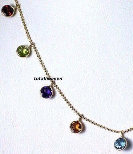 "14K Yellow Gold Garnet Peridot Amethyst Citrine Blue Topaz 18"" Necklace DAINTY"