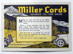 Details about MILLER CORDS EARLY AUTOMOBILE TIRE ADVERTISING CARD GAS & OIL  RELATED