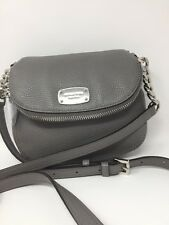 NWT Michael Kors Bedford Flap Leather Crossbody Messenger Bag Purse Steel Grey