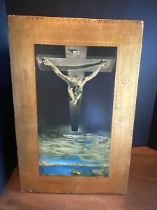 Vintage Italy Gold Florentine Wood Wall Plaque Jesus On The Cross