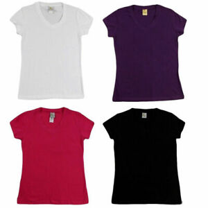 NEW-Womens-Ladies-Cotton-Stretch-T-Shirt-Tee-Top-Basic-Plain-White-Black-Colours
