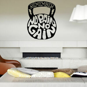 Wall decal room sticker bedroom no pain no gain quote weights gym