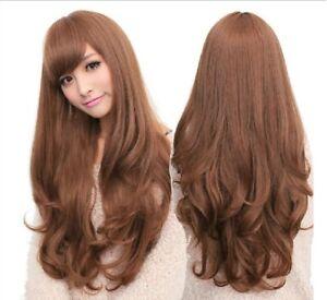 Long Wavy Curly Full Hair Wigs w Side Bangs Cosplay Costume Fancy Anime Womens