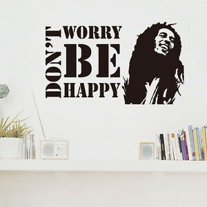Dont Worry Be Happy Wall Sticker Bob Marley Musician Quote Vinyl