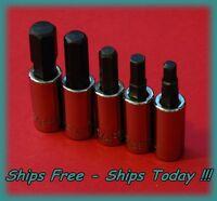 Craftsman 1/4 Drive 5 Piece Hex Allen Key Bit Sae Socket Set Standard Std Inch
