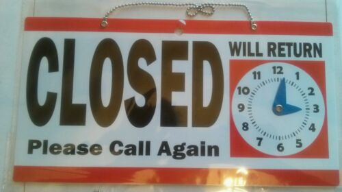 REVERSIBLE RED OPEN CLOSED SIGN WITH WILL RETURN CLOCK /& HANGING SIGN W//CHAIN