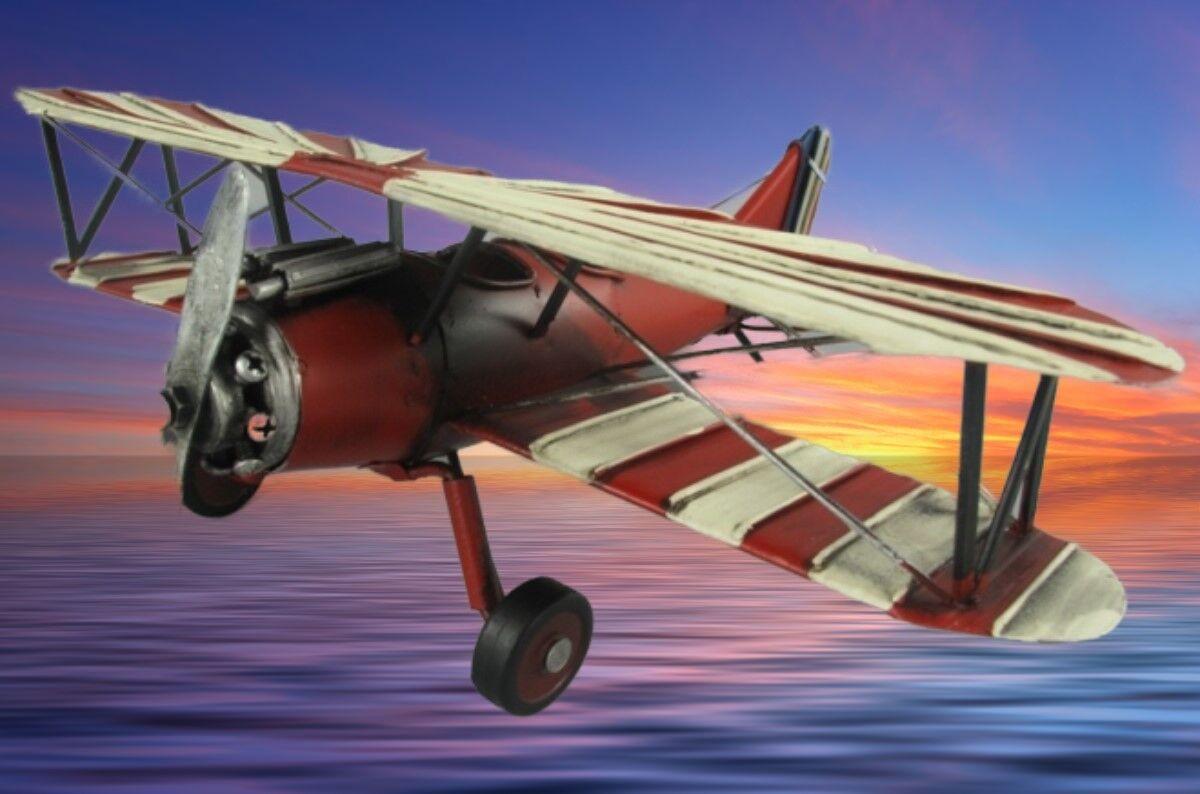 Oldtimer Modell eines Flugzeugs Vitrine Objekt Vintage Weihnachtsgeschenk red