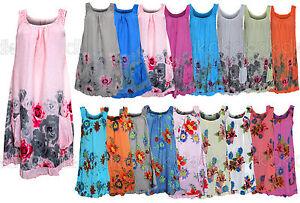 Beach-Floral-Cotton-Sleeveless-Tunic-Shift-Ladies-Mini-Dress-12-18