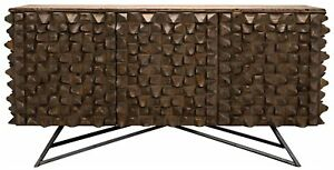 87-034-L-Sideboard-Hand-Crafted-Old-Wood-Fir-Raised-Texture-Modern-Metal-Base
