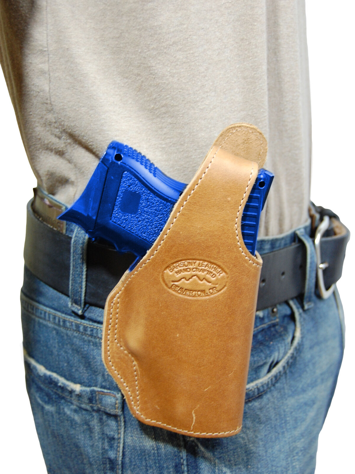 New Barsony Tan Leder OWB Holster for Smith&Wesson Compact, Sub-Comp 9mm 40 45