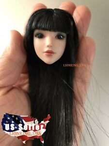 "1//6 Female Head sculpt Black Hair For 12/"" TBLeague Phicen Suntan Figure ❶USA❶"