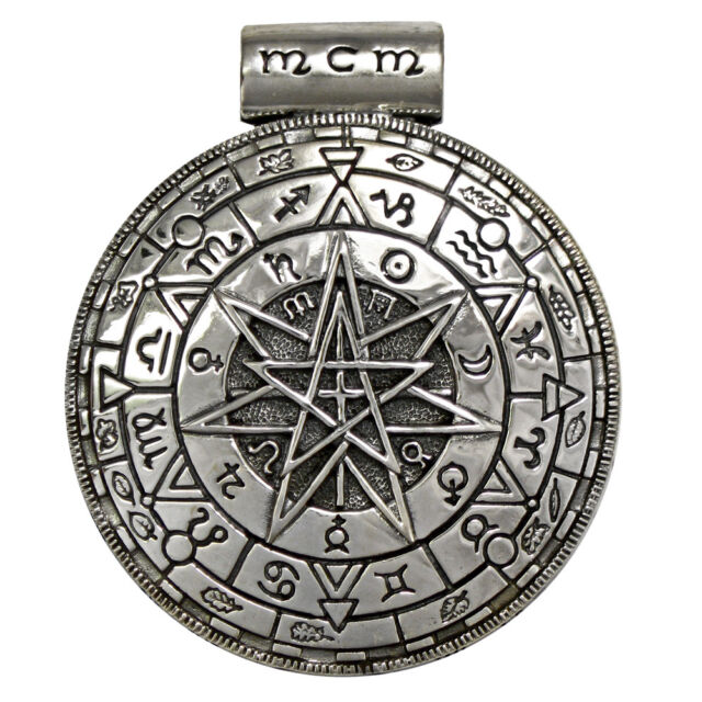 Large Sterling Silver Alchemical Pentacle Shield Pendant - Magic Wiccan Jewelry