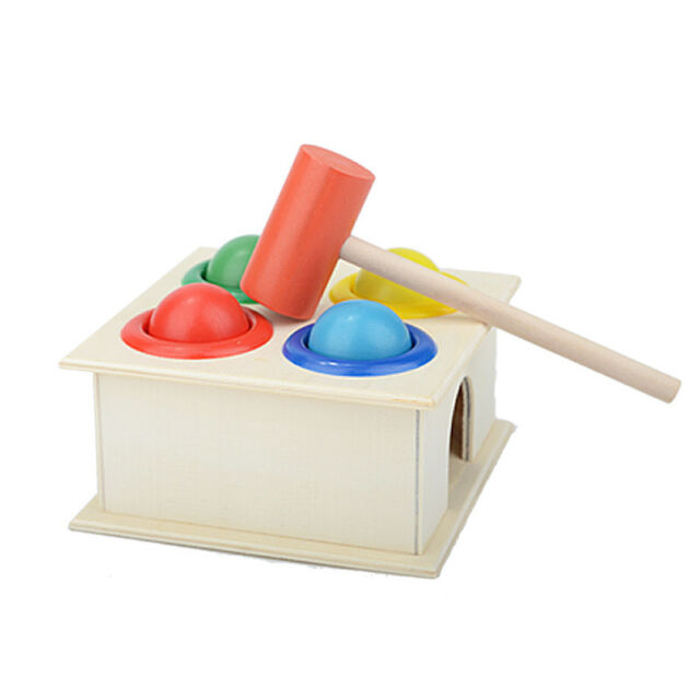 Hammering Wooden Ball Hammer Box Children Early Learning Educational Intell T9R8