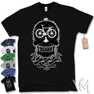 Bicycle skull t shirt old school vintage bike race for Old school basketball t shirts