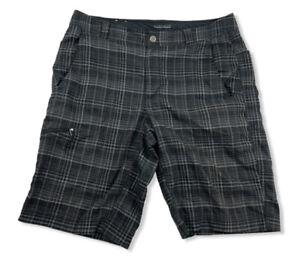 Columbia Mens Omni-wick Advanced Evaporation Plaid Black/Gray Shorts Size 34W