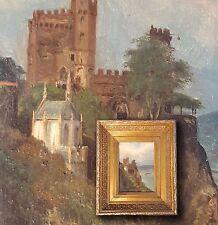 ERNST PENNING-DUPRIN Rheinromantik, Burg Rheinstein. Orig. antikes Ölgemälde 19.