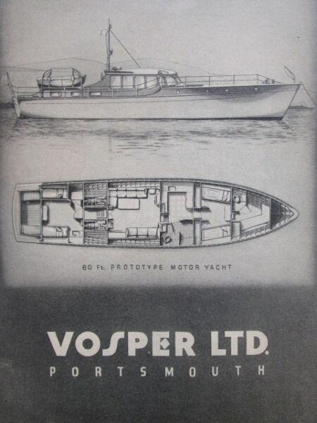 12/1945 Pubb. Vosper Shipbuilders Engineers Portsmouth 60 Ft Motor Yacht Ad Può Essere Ripetutamente Ripetuto.