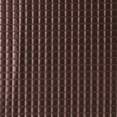 G680 Copper Metallic Plush Squares Upholstery Faux Leather By The Yard