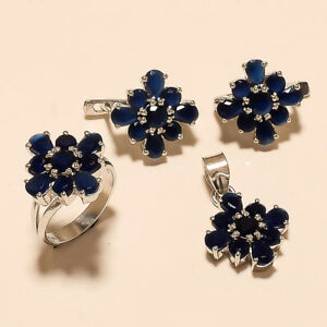 Natural Ceylon Blue Sapphire Ring Earrings 925 Sterling Silver Turkish Jewelry Hair & Head Jewelry