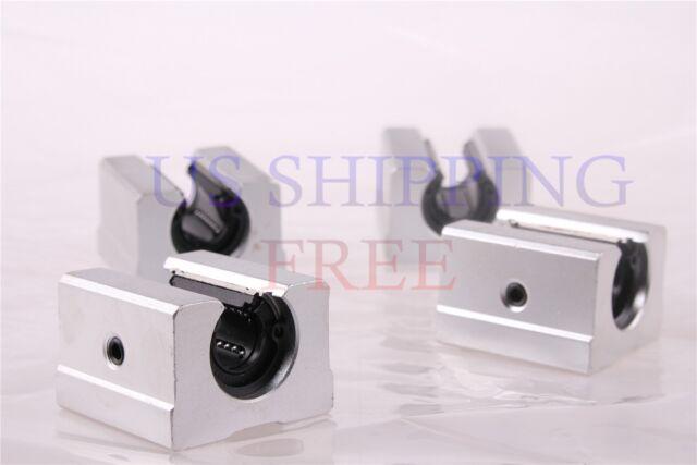 4pcs SBR12UU 12mm Aluminum Open Linear Motion Ball Bearing Pillow Block