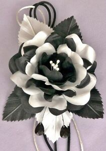 Black white rose hair clip silk flower wrist corsage ebay image is loading black amp white rose hair clip silk flower mightylinksfo