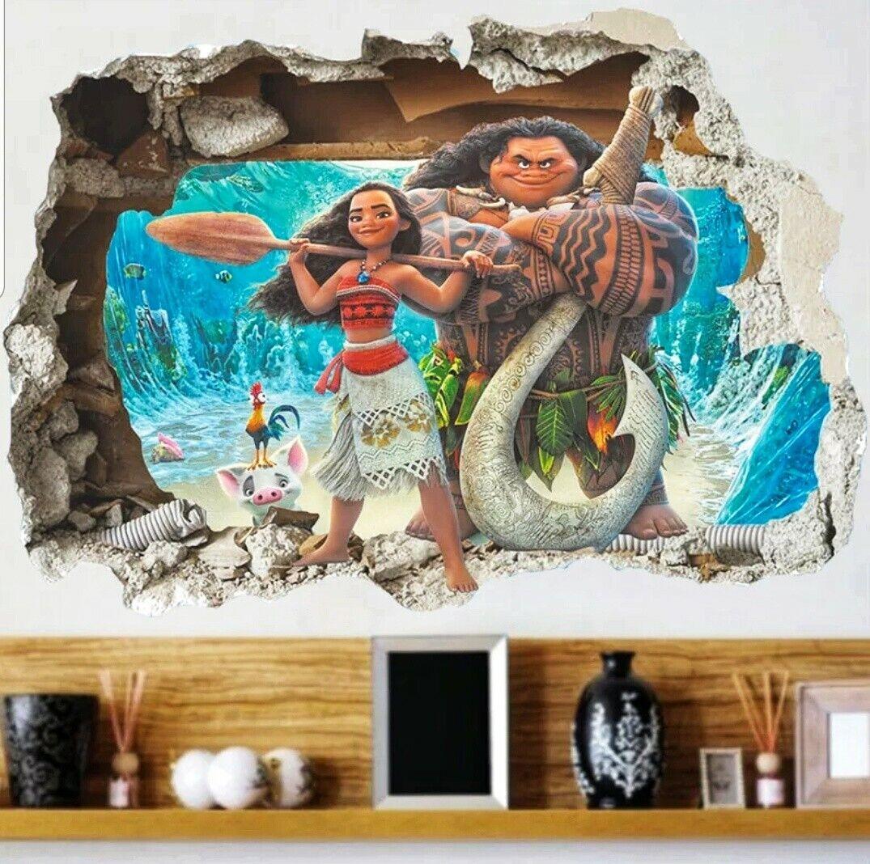 s97 Moana Disney Kids Wall Decal Mural Disney Princess Wall Vinyl Animated Art