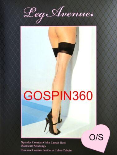 O//S /& PLUS BLACK TOP SPANDEX CUBAN HEEL Stockings NUDE w// BLACK