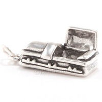 3d Vampire Coffin 925 Sterling Silver Halloween Jewelry Pendant Charm Lid Open