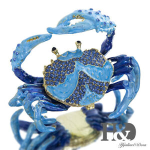 H-amp-D-Blue-Crab-Bejeweled-Collectible-Trinket-Jewelry-Box-for-Rings-and-Keepsakes