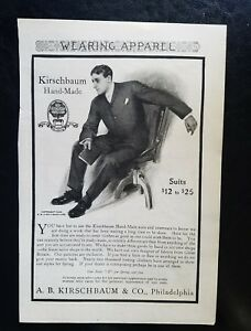 handgefertigte Kleidung Herren Anzug Anfang 1900er A bKirschbaum Vintage Ad Jahre der 8wOPk0n