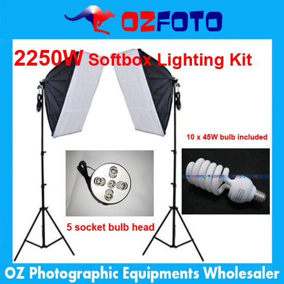 2250W 5 Socket Head 60x90 Softbox Continuous Lighting LightStand Kit Studio AU